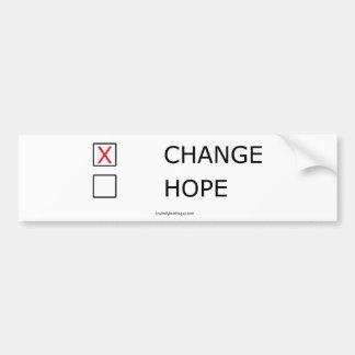 Cambie y ninguna esperanza pegatina para auto