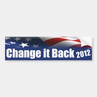 Cambíelo detrás 2012 pegatina para auto