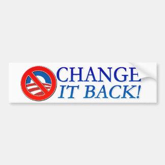 ¡Cambíelo detrás! Etiqueta blanca de Anti-Obama de Etiqueta De Parachoque