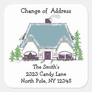 Cambio acogedor de la casa de dirección pegatinas cuadradas personalizadas