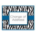 Cambio azul del estampado de zebra de postales de