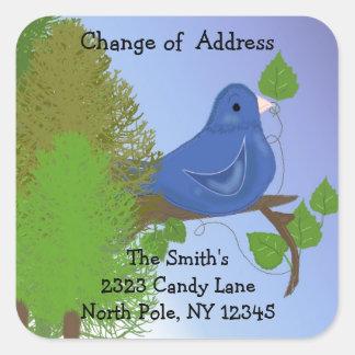Cambio azul del pájaro de dirección calcomanía cuadrada personalizada