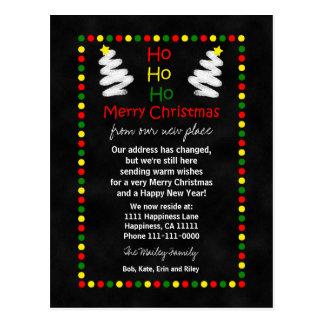 Cambio de árboles de navidad de la pizarra de la postales