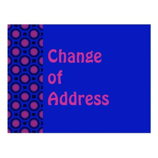 Cambio de azul de la dirección con los puntos púrp tarjetas postales