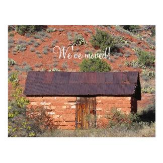Cambio de dirección, cabina roja de la roca tarjetas postales