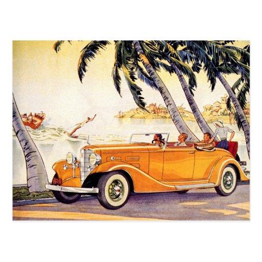 Cambio de dirección, coche antiguo convertible del tarjetas postales