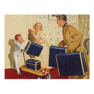 Cambio de dirección, familia del vintage con las m tarjetas postales