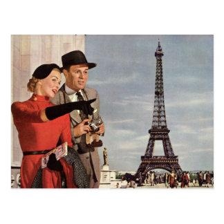 Cambio de dirección, turistas del vintage en París Postal