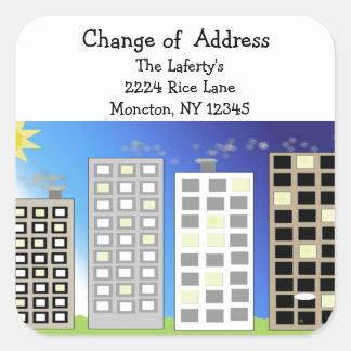 Cambio de edificios altos de dirección pegatina cuadrada