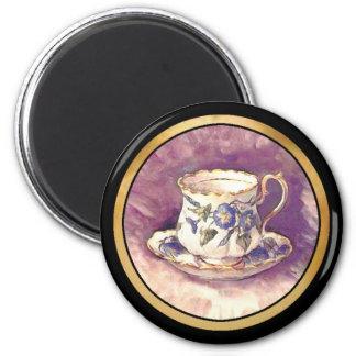 Cambio de imagen del vintage - taza y platillo imán redondo 5 cm