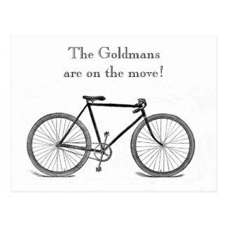 Cambio de la bicicleta del vintage de dirección tarjeta postal