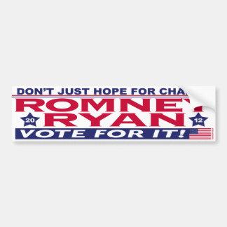 Cambio de la esperanza de Romney Ryan Etiqueta De Parachoque