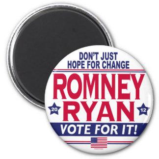 Cambio de la esperanza de Romney Ryan Imán Redondo 5 Cm