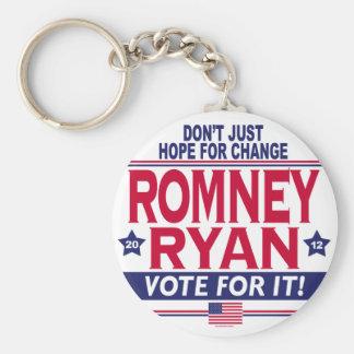 Cambio de la esperanza de Romney Ryan Llavero Personalizado