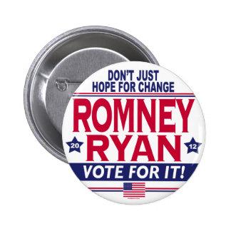 Cambio de la esperanza de Romney Ryan Pin