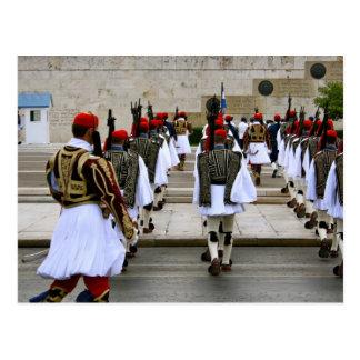 Cambio de los guardias en la postal de Atenas Grec