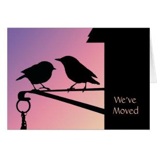 Cambio de los pájaros de la puesta del sol de dire tarjeta pequeña