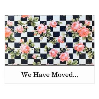 Cambio de los rosas del vintage de plantilla de la postal