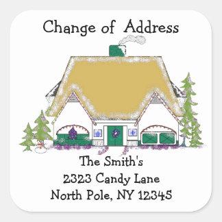 Cambio de oro de la casa de dirección pegatina cuadrada