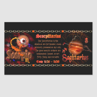 Cambio de signo del zodiaco del sagitario del pegatina rectangular