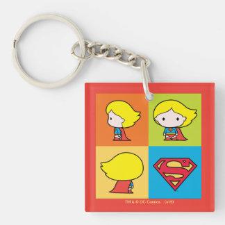 Cambio del carácter de Chibi Supergirl Llavero Cuadrado Acrílico A Doble Cara