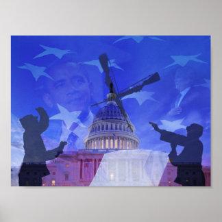 Cambio del guardia Barack Obama George W Bush Poster