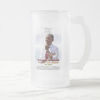 Cambio del zoquete (Obama) Jarra De Cerveza Esmerilada