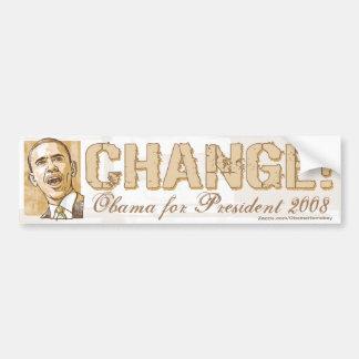 ¡Cambio! Pegatina para el parachoques de Obama Pegatina Para Auto