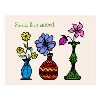 Cambio personalizado arte de tres floreros de dire postales