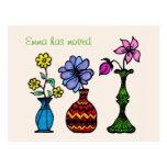 Cambio personalizado arte de tres floreros de postal