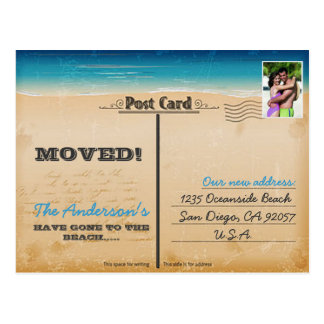 Cambio retro de la playa del vintage de foto de la postal
