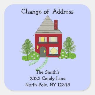 Cambio rojo de la casa de dirección pegatina cuadrada
