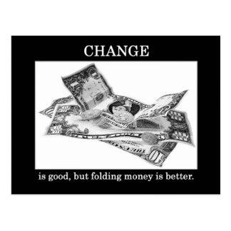 cambio-ser-bueno-pero-doblar-dinero-ser-mejor tarjetas postales
