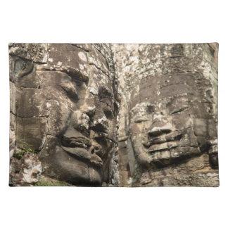Cambodia, Angkor Wat. Angkor Thom, Bayon Cloth Placemat