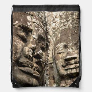 Cambodia, Angkor Wat. Angkor Thom, Bayon Drawstring Bag
