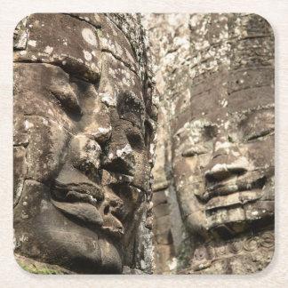 Cambodia, Angkor Wat. Angkor Thom, Bayon Square Paper Coaster