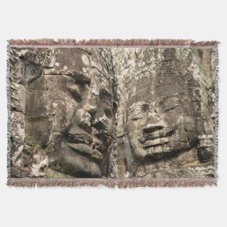 Cambodia, Angkor Wat. Angkor Thom, Bayon Throw Blanket