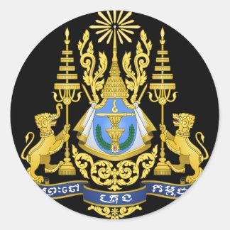 cambodia emblem round stickers