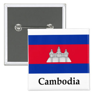Cambodia Flag And Name 2 Inch Square Button