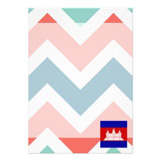 """Cambodia Flag Box on Colorful Chevron 5"""" X 7"""" Invitation Card"""