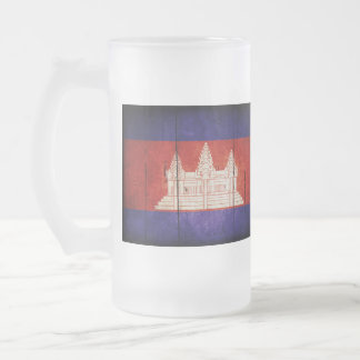 Cambodia Flag; Cambodian; Khmer Frosted Glass Beer Mug