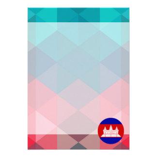 "Cambodia flag circle on modern bokeh 5"" x 7"" invitation card"