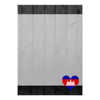 """Cambodia flag colored 5"""" x 7"""" invitation card"""