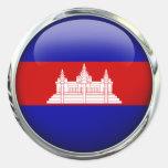 Cambodia Flag Glass Ball Classic Round Sticker