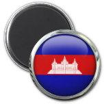 Cambodia Flag Glass Ball Magnet