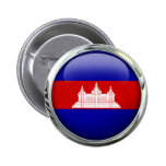 Cambodia Flag Glass Ball Pinback Buttons