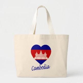Cambodia Flag Heart Tote Bags