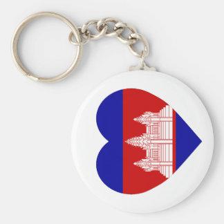Cambodia Flag Heart Keychain