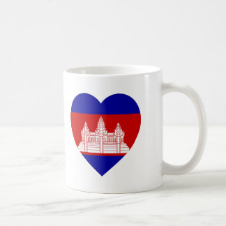 Cambodia Flag Heart Coffee Mugs