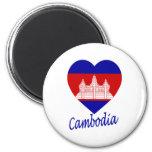 Cambodia Flag Heart Refrigerator Magnets
